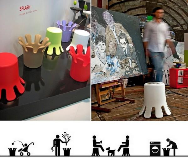 Мебель Splash в виде всплеска воды: стул, стол, тумбочка