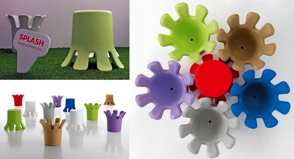 Всплеск воды вдохновляет. Современная мебель Splash как стол, стул, ваза и корзинка