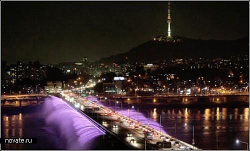 Сеульский мост с фонтаном и цветомузыкой