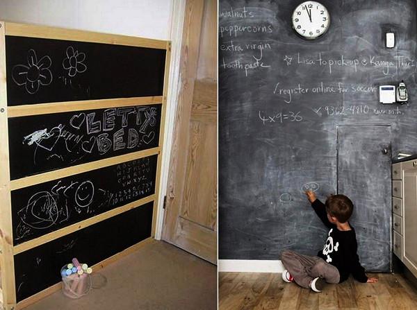 Стена для рисования, сделанная в виде школьной доски