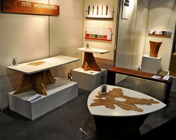 Журнальные столики из серии Bloom Collection, сделанные из пеньков кедрового дерева