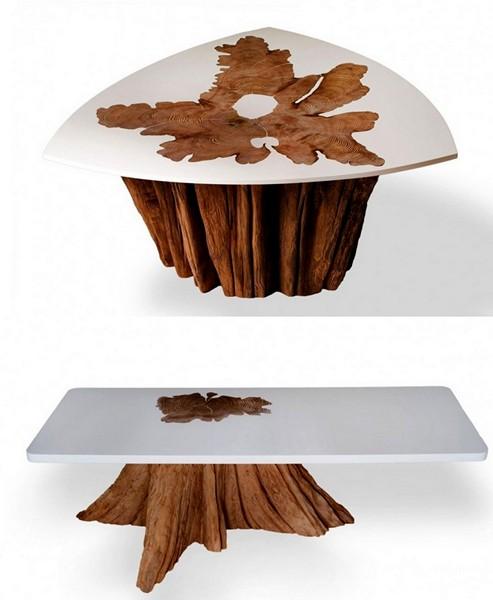 Уникальные рисунки годовых колец на столешницах журнальных столиков из Bloom Collection