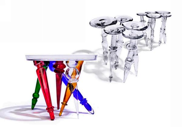 Стеклянные столики Joy и Mistral от Борека Шипека (Borek Sipek)