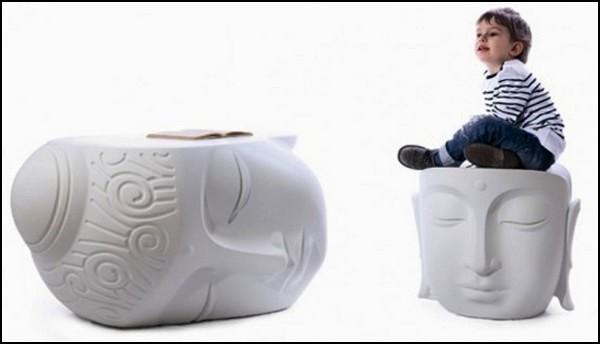 Buddha Head. Стол и пуфик в виде головы Будды. Концепт