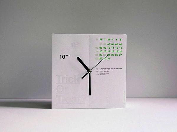 Концепт CalenClock, отрывной календарь и часы, два в одном