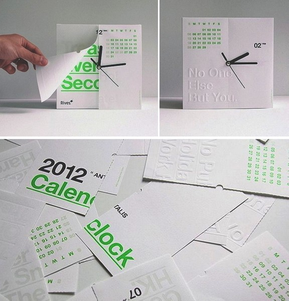 Концепт CalenClock,отрывной календарь на месяц и часы со стрелками