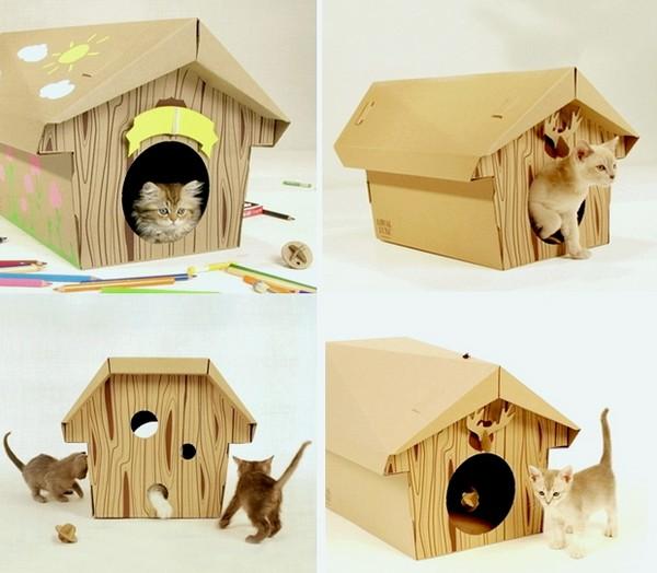 Домики для кошки из картона