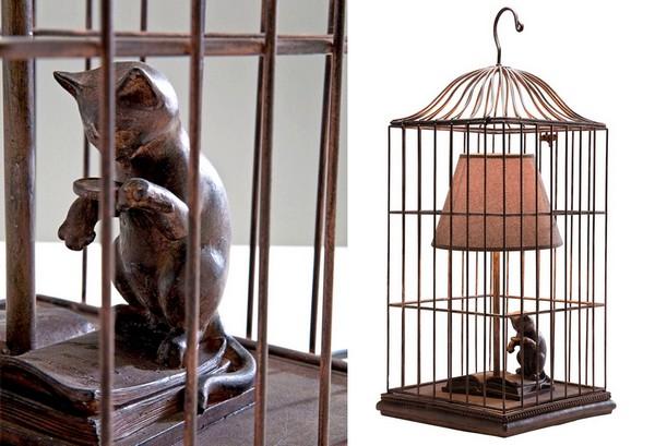 Cat in a Cage. Креативная настольная лампа для кошатников
