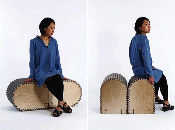 Простые и лаконичные сидения из серии Bundle. Сочетание дерева, текстиля и меха