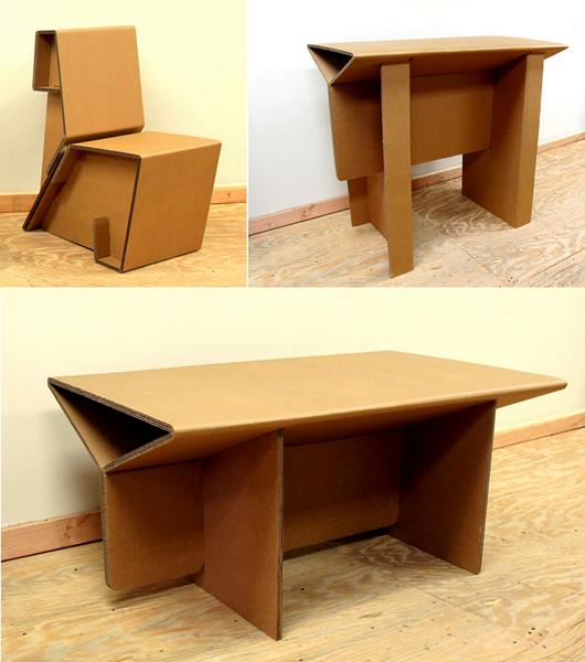 Серия оригинальной картонной мебели Chairigami