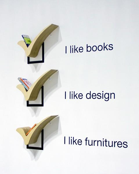 Check, креативная полочка для книг в виде *галочки*