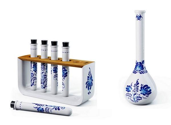 Пробирки для специй и фарфоровая ваза из сервиза Chemicus