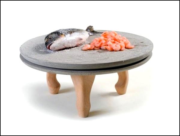 Бетонные тарелки на деревянных ножках