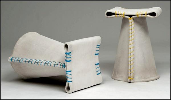 Бетонно-тканевые стулья из проекта Stitching Concrete Stool