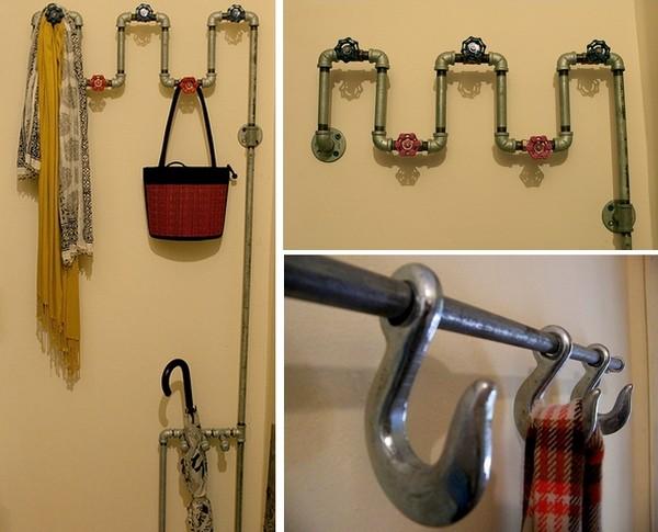 Система вешалок для одежды а-ля водопроводные трубы
