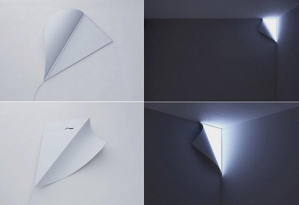 Peel Light, ночник, имитирующий светящийся уголок стены