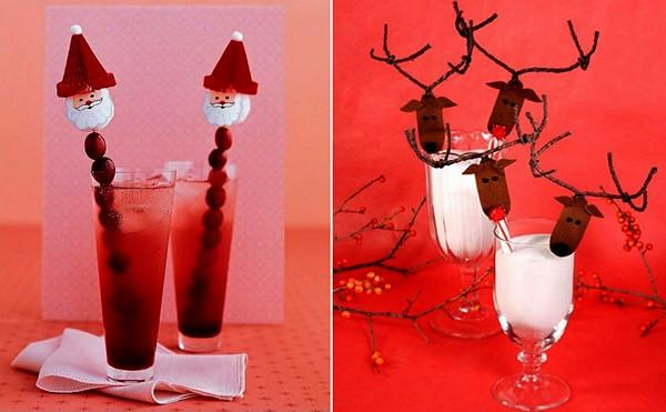 Креативно оформленные новогодние коктейли.