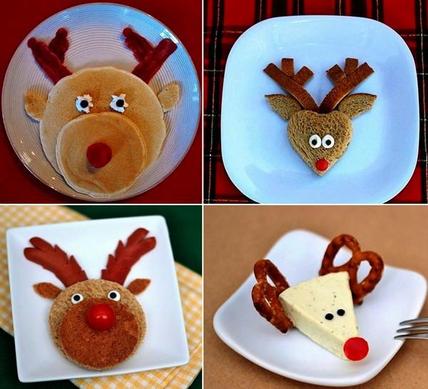 Новогодние бутерброды, сделанные в виде оленей