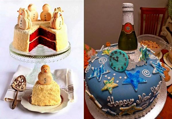 Праздничные торты с новогодним оформлением