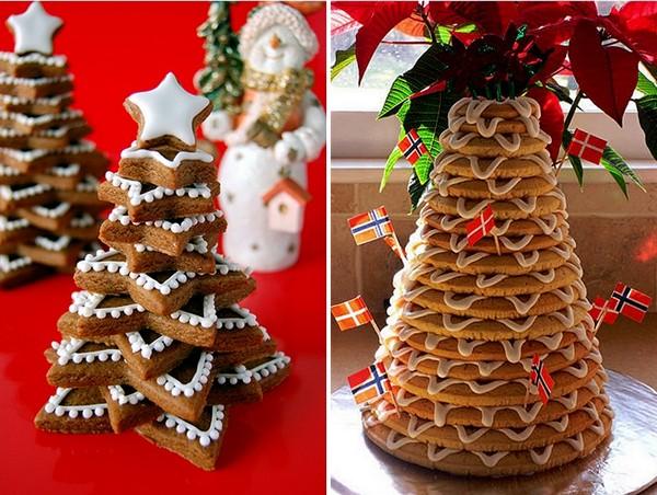 Новогодняя елка из праздничного печенья