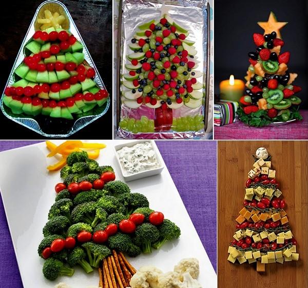 Съедобные новогодние елочки из овощей и фруктов