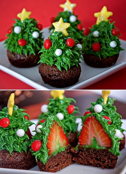 Новогодние кексы в виде украшенной елки