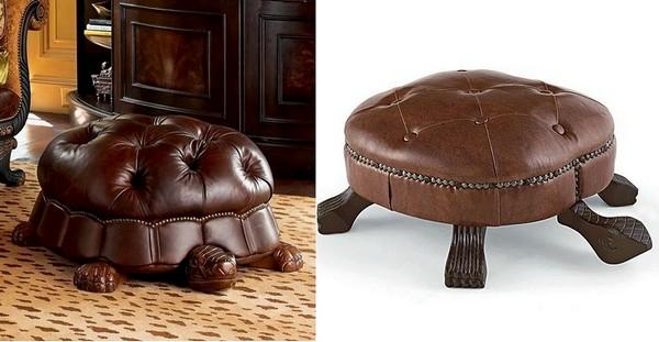 Кожаные пуфики для ног в виде большой черепахи