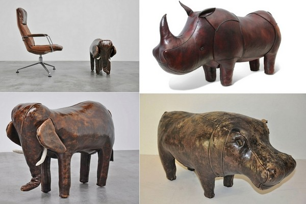 Кожаные скамеечки в виде африканских животных