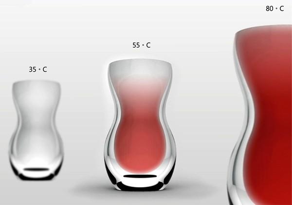 Стакан Drinking Timing, показывающий температуру напитка