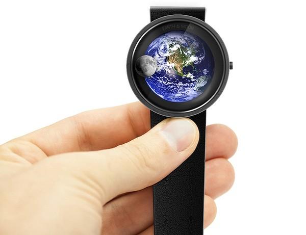 Концептуальные часы Earth and moon, считающие время по лунам