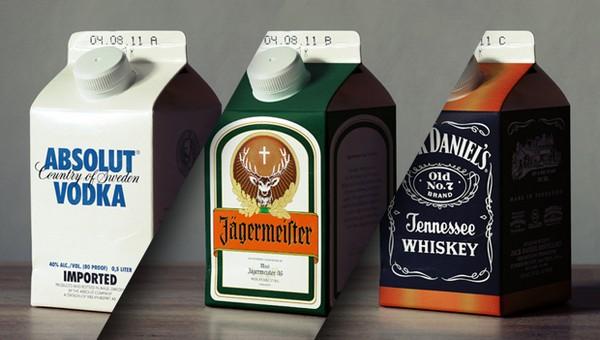 Ecohols: креативные упаковки для спиртного в виде пакетов для молока