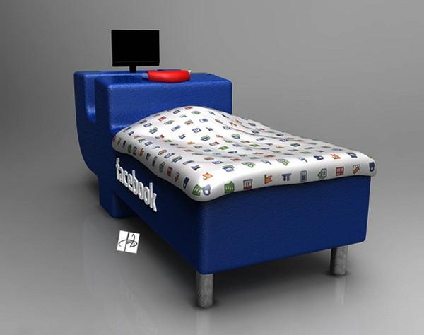 FBed concept от Tomislav Zvonariс, кровать в виде лототипа Facebook