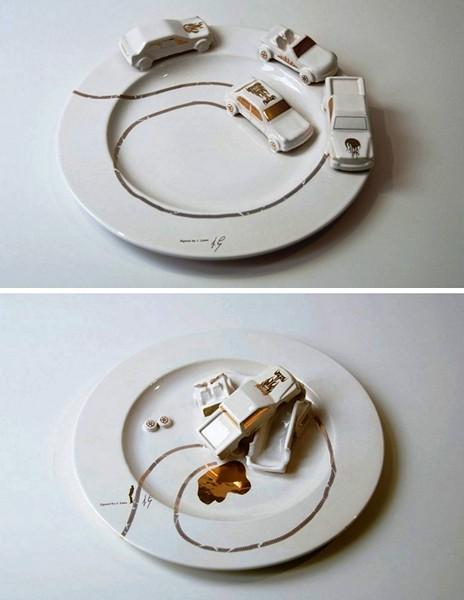 Дизайнерская посуда Джудит Монтенс (Judith Montens) со скульптурными изображениями автомобильных аварий