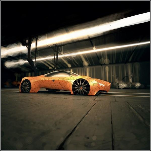 Автомобиль будущего, покрытый чешуей