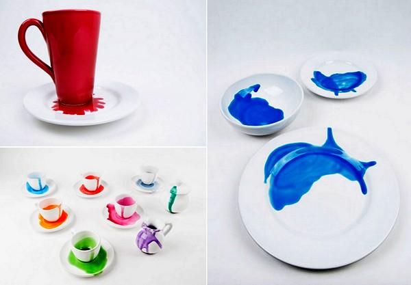 Посуда с разноцветными кляксами. Коллекция Splashes от Джованны Ало (Giovanna Alo)