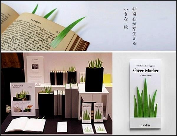 Зеленые травинки-закладки GreenMarker от Yuruliku Design