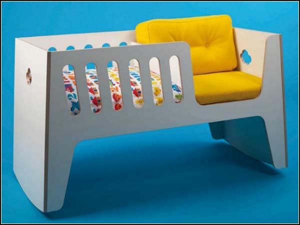Колыбель и кресло-качалка, а потом - детская кроватка. Rocky от Jall & Tofta