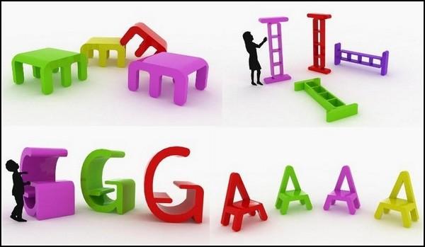 Детская мебель-алфавит от Alessandro di Prisco