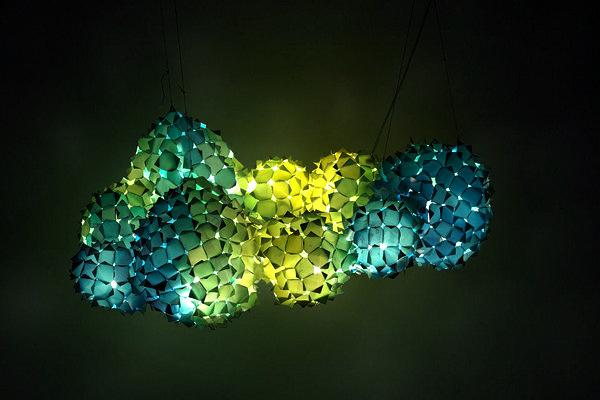 Living Pixels: разноцветные арт-светильники из рекламных баннеров