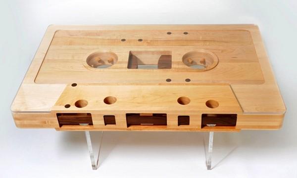 Mixtape Table. Деревянный журнальный столик в виде аудиокассеты