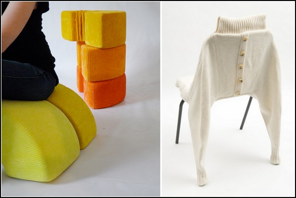 Теплые вязаные стулья и пуфики от Клэр-Энн О'Бриен (Claire-Anne O'Brien)