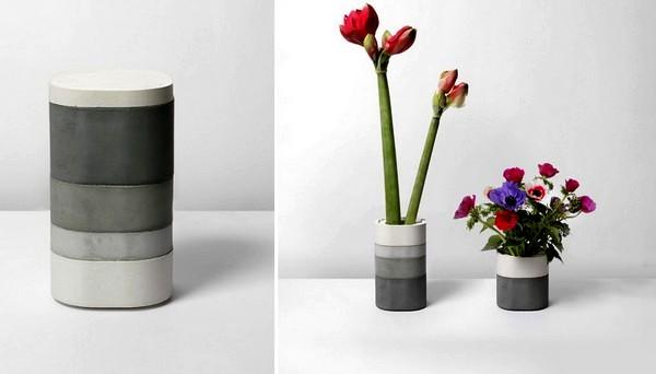 Бетонная ваза Konkurito vases для нежных цветов