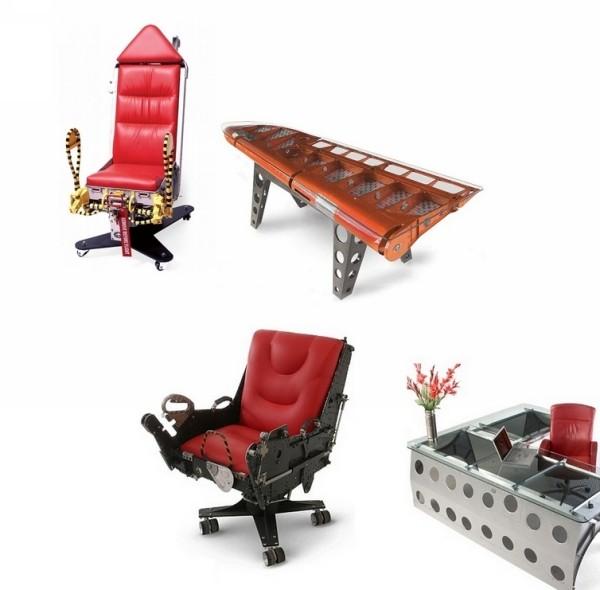 Мебель из фрагментов самолетов от студии Motoart