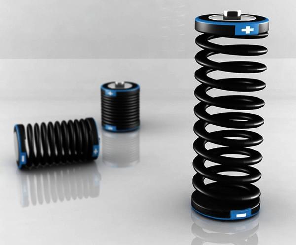 Концептуальный аккумулятор в виде пружины One = Two Battery
