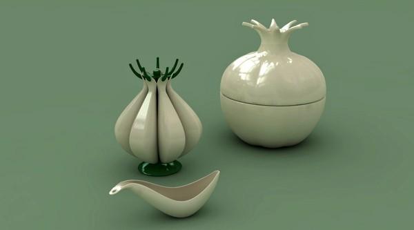 Garlic & Onion, оригинальные чаши в виде чеснова и лука от студии Baita Design