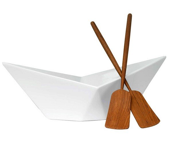Миска для салата в виде парусника и весла-лопатки