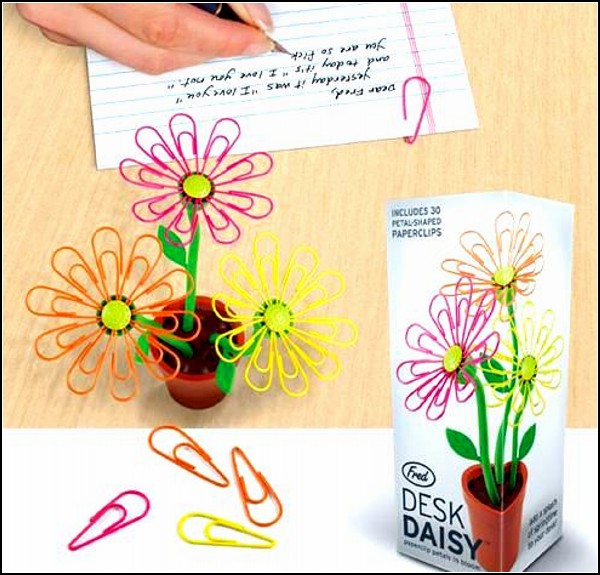 Desk Daisy Paperclip Clips and Holder