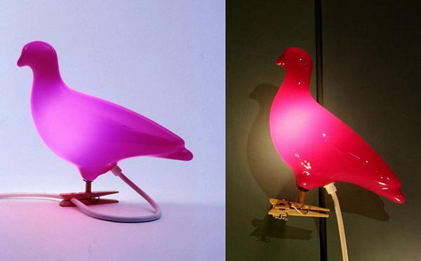 Pigeon light: дизайнерский ночник-голубь от Эда Карпентера