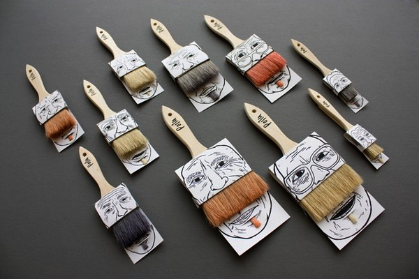 Poilus, юмористический концепт оригинальной упаковки для кисточек