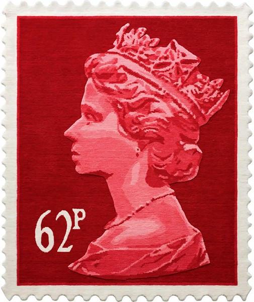 Tapis en laine, un timbre-poste britannique traditionnelle